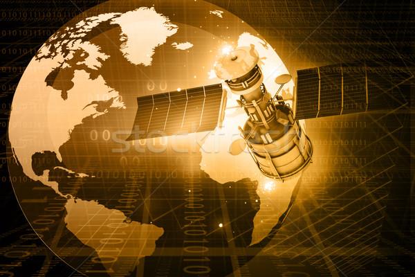 Satélite comunicações abstrato mundo fundo espaço Foto stock © bluebay