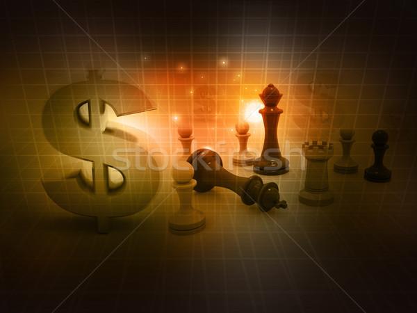 Szachy gry znak dolara streszczenie ceny sportu Zdjęcia stock © bluebay