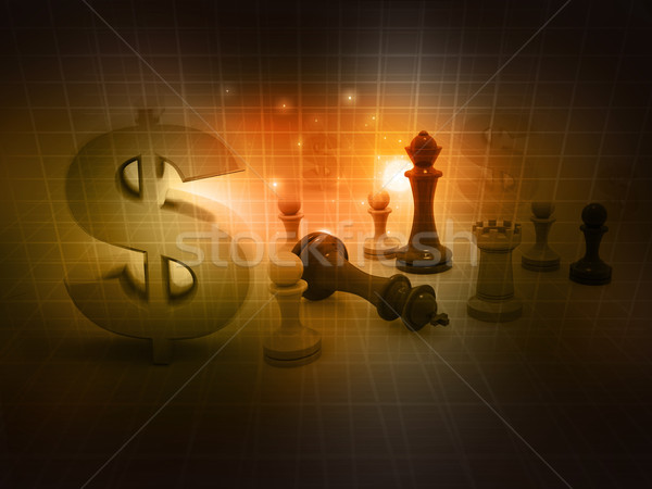 шахматам игры знак доллара аннотация деньги спорт Сток-фото © bluebay