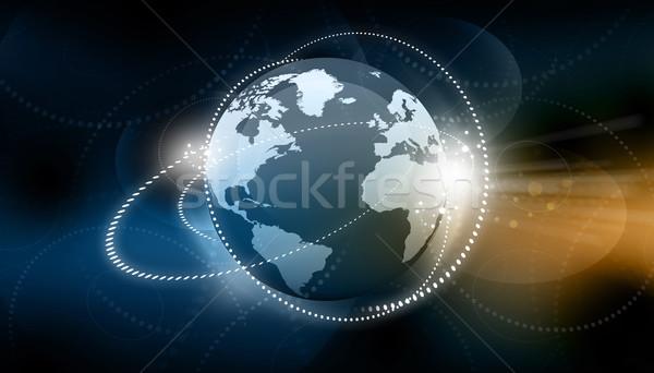 Global business sieci globalizacja działalności świat niebieski Zdjęcia stock © bluebay