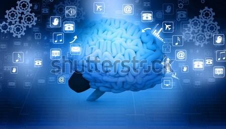Emberi agy internetes ikonok üzlet zene háttér hálózat Stock fotó © bluebay