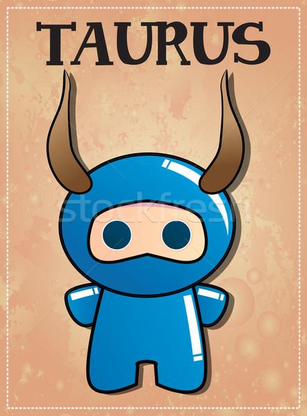 Stock photo: Zodiac sign Taurus with cute black ninja character, vector