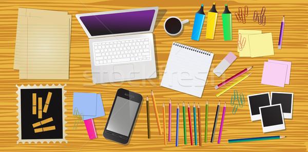 Pracy biurko biuro materiały biurowe wektora komputera Zdjęcia stock © BlueLela