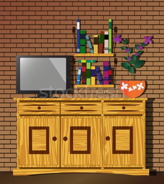 Living room with dresser, TV, bookshelf and flower Stock photo © BlueLela
