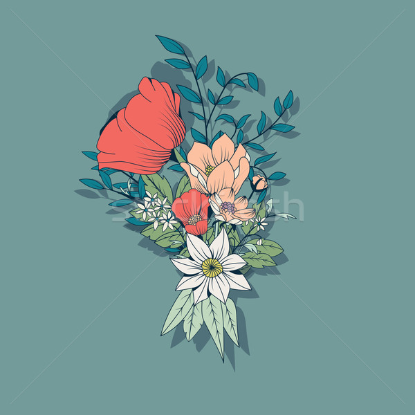 Vector flower bouquet, botanical and floral decoration hand draw Stock photo © BlueLela
