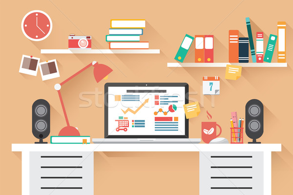Home office desk - flat design, long shadow, work desk, computer Stock photo © BlueLela