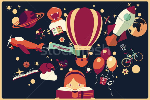 Imagination concept - girl reading a book with air balloon, rocket and airplane flying out, night sk Stock photo © BlueLela