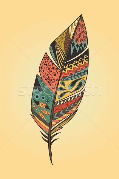 Vintage tribal ethnic hand drawn colorful feather, vector illustration Stock photo © BlueLela