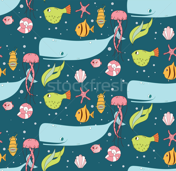 Seamless pattern with underwater scene, fish, whale, jelly fish Stock photo © BlueLela