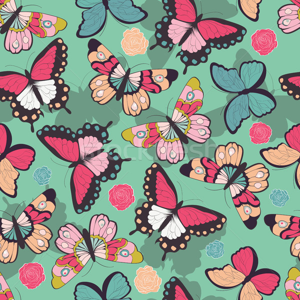 Seamless vector pattern with hand drawn colorful butterflies Stock photo © BlueLela