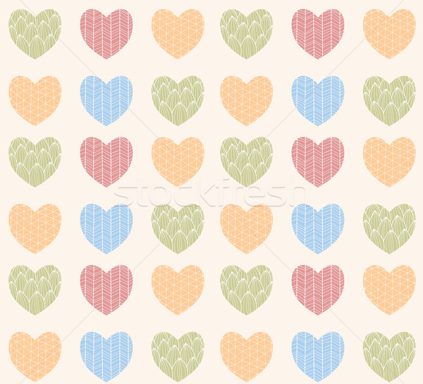 Seamless Pattern With Ornamental Heart Shaped Symbols Line Draw