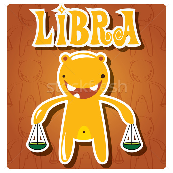 Zodiac sign Libra with cute colorful monster Stock photo © BlueLela