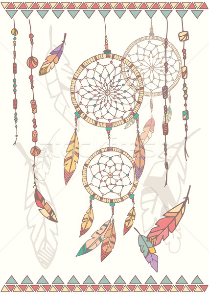 Hand drawn native american dream catcher, beads and feathers Stock photo © BlueLela