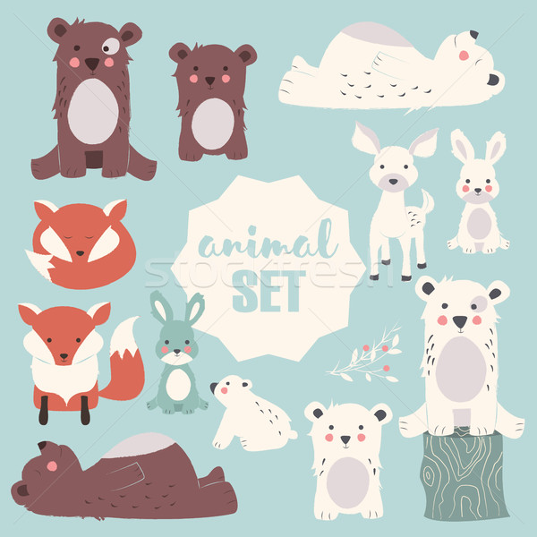 Collection of cute forest and polar animals with baby cubs, including bear, fox, fawn and rabbit, ve Stock photo © BlueLela