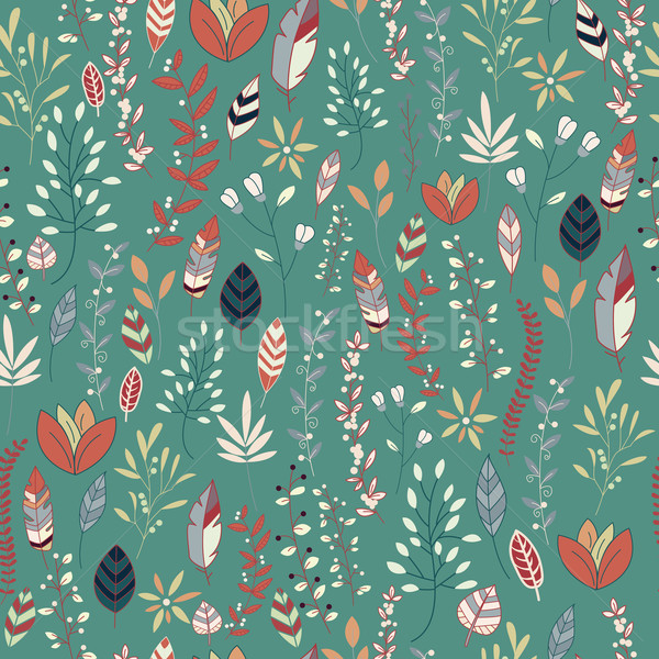Stock photo: Seamless pattern design with hand drawn flowers, floral elements