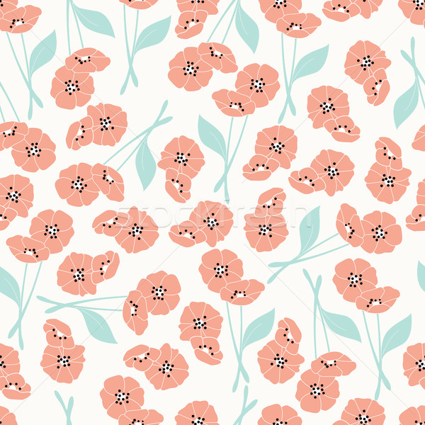 Seamless pattern with flowers and floral elements, nature life Stock photo © BlueLela