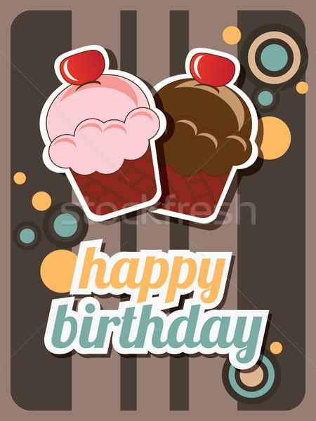 Boldog születésnapot csésze torta kártya klasszikus retro Stock fotó © BlueLela