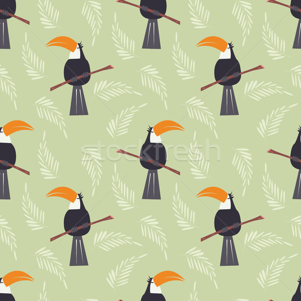 Seamless pattern with cute jungle parrot toucan on green background Stock photo © BlueLela