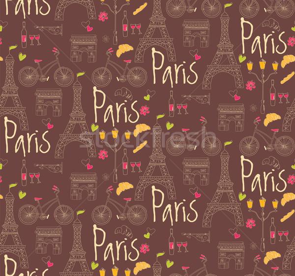 Stock fotó: Párizs · szimbólumok · képeslap · végtelen · minta · kézzel · rajzolt · város