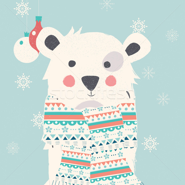 Vidám karácsony képeslap sarki fehér medve Stock fotó © BlueLela