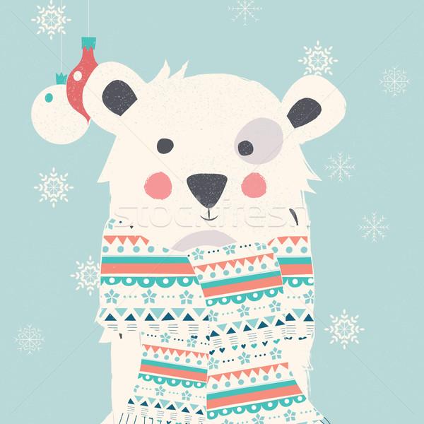 Merry Christmas postcard with polar white bear wearing scarf Stock photo © BlueLela