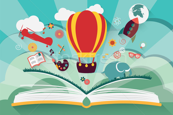 Imagination concept - open book with air balloon, rocket and air Stock photo © BlueLela