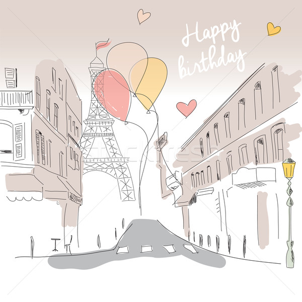 Joyeux anniversaire carte Paris rue Tour Eiffel ballons Photo stock © BlueLela