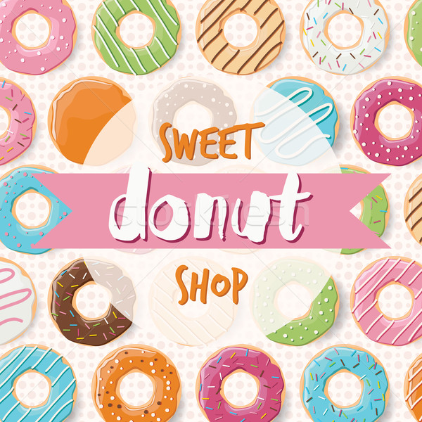Poster design with colorful glossy tasty donuts for a donut shop Stock photo © BlueLela