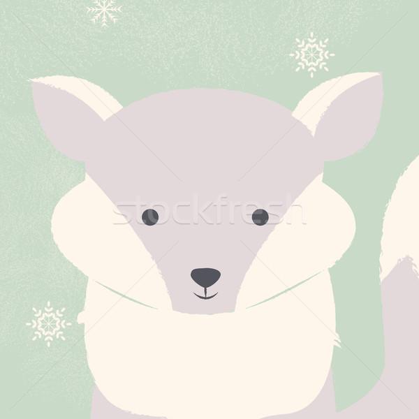Cute polair witte baby vos groene Stockfoto © BlueLela