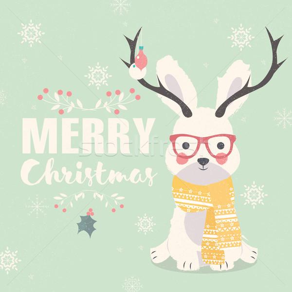 Vidám karácsony képeslap hipszter sarki nyúl Stock fotó © BlueLela