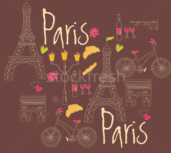 Foto stock: Paris · símbolos · cartão · postal · cidade · restaurante