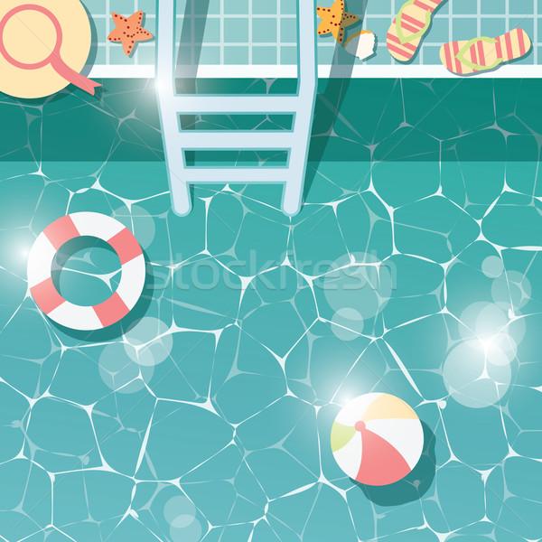 Yüzme havuzu yan üst görmek yaz zaman Stok fotoğraf © BlueLela