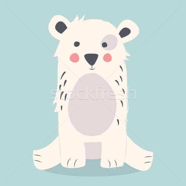 Cute orso polare seduta terra blu felice Foto d'archivio © BlueLela