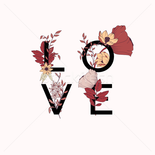 Flowers typography poster design, text and florals combined, han Stock photo © BlueLela