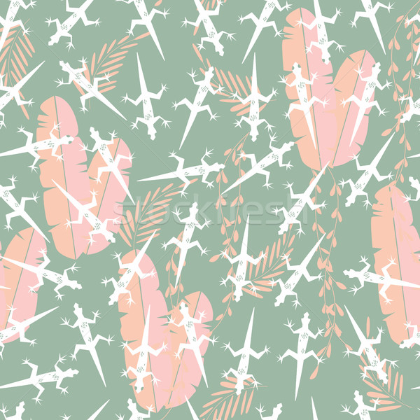 Seamless pattern with cute green rain forest animal gecko lizard Stock photo © BlueLela