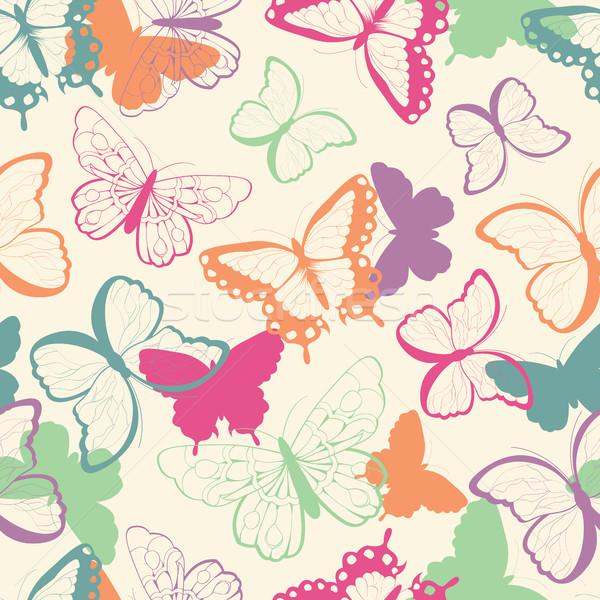 シームレス ベクトルパターン 手描き カラフル 蝶 シルエット ストックフォト © BlueLela