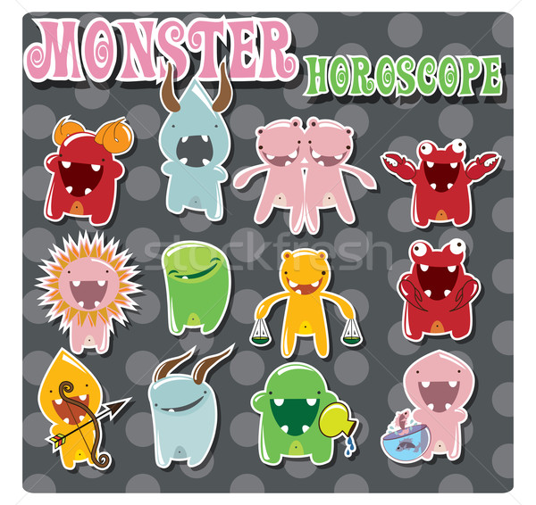 Horoscope signs with cute colorful monsters Stock photo © BlueLela