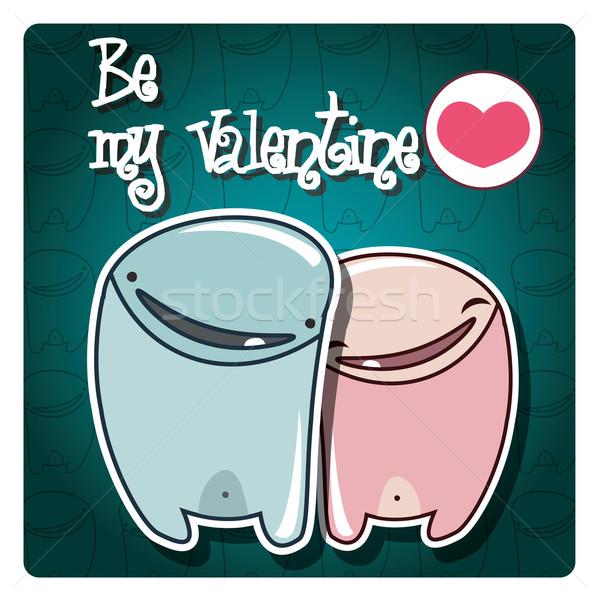 San valentino carta cute mostri messaggio vettore Foto d'archivio © BlueLela