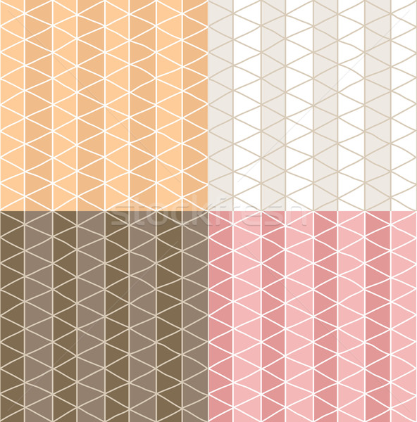 Four seamless patterns with hand drawn line grid pattern Stock photo © BlueLela