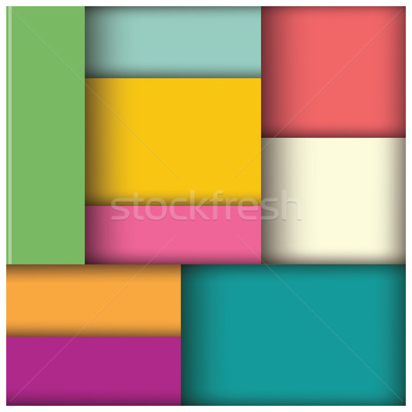 Stock photo: Abstract 3d square background, colorful tiles, geometric, vector