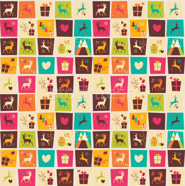 Seamless patterns with colorful squares, Christmas reindeers, gi Stock photo © BlueLela