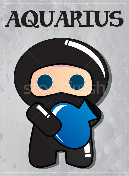 Zodiac sign Aquarius with cute black ninja character Stock photo © BlueLela