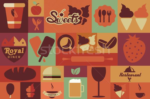 Stockfoto: Collectie · vintage · retro · voedsel · iconen · ontwerp
