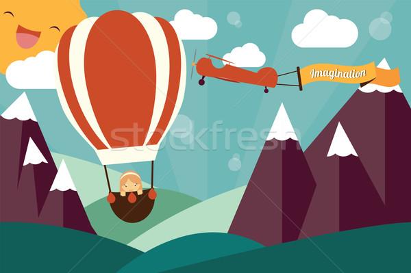 Wyobraźnia dziewczyna balon samolot banner pływające Zdjęcia stock © BlueLela
