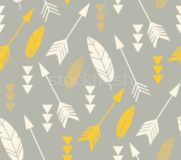 Bohemian feathers and arrows, seamless pattern Stock photo © BlueLela