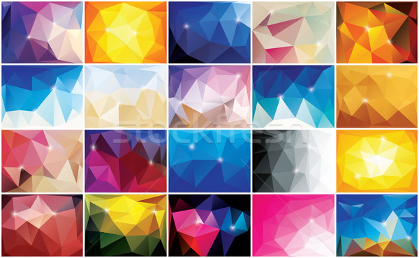 Collection of 20 abstract geometric colorful backgrounds, patter Stock photo © BlueLela