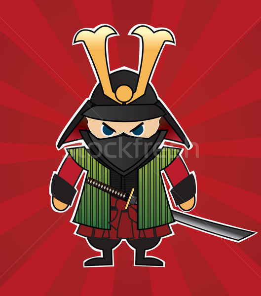 amurai cartoon illustration on red sunburst background Stock photo © BlueLela