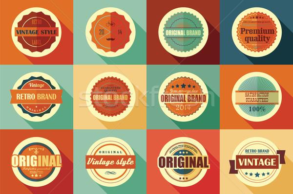 Gyűjtemény klasszikus retro címkék jelvények bélyegek Stock fotó © BlueLela