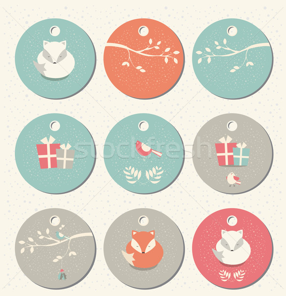 Collection of 9 round Christmas and New Year gift tags with foxes, birds and branches, vector illust Stock photo © BlueLela