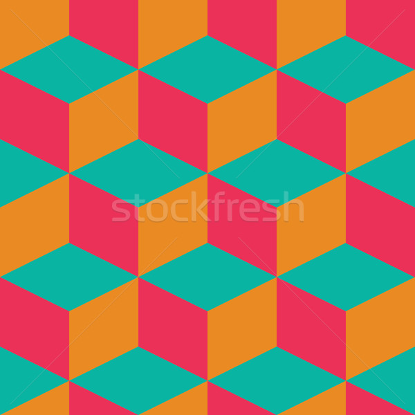 Geometric seamless pattern with colorful squares in retro design Stock photo © BlueLela